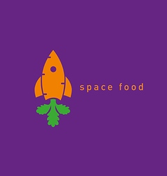 Creative logo on the space theme carrot and rocke vector