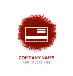 credit card icon - red watercolor circle splash vector image