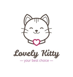 cute linear cat head logo vector image