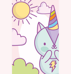 cute little squirrel rainbow hat sun clouds vector image