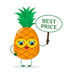 Cute pineapple cartoon character in yellow heart vector