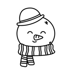 cute snowman face with hat happy christmas thick vector image