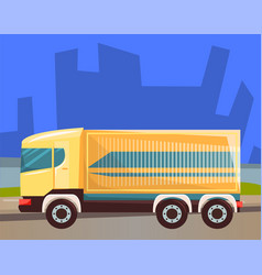 delivery and shipping cargo in city lorry vector image