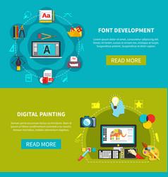 designer tools flat banner set vector image