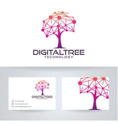 Digital tree logo design vector