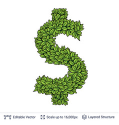 dollar currency sign of green leaves vector image