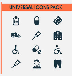 Drug icons set collection of physician mark vector