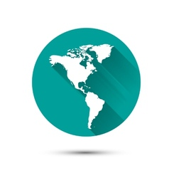 Earth globe white icon on green background with vector