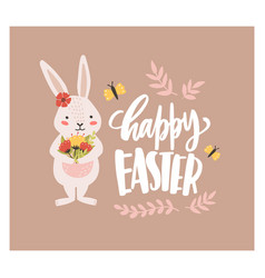 easter greeting card template with funny adorable vector image