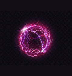 Electric ball lightning circle strike impact place vector
