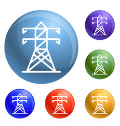 electric tower icons set vector image