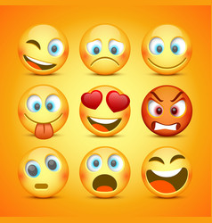 emoji and sad icon set collection vector image