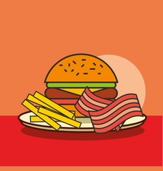 fast food burger french fries and bacon vector image