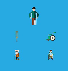 Flat icon cripple set of ancestor injured vector