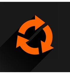 Flat orange arrow icon rotation reset sign vector