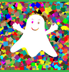 ghost sign white icon on colorful vector image