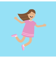 Girl jumping isolated Happy child jump Cute vector