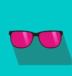 glasses with pink lens long shadow flat design vector image