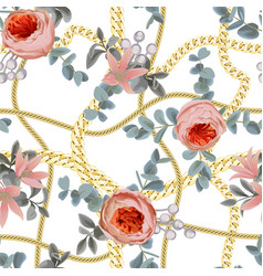 golden chains check seamless pattern with flowers vector image