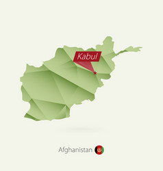 Green gradient low poly map afghanistan vector