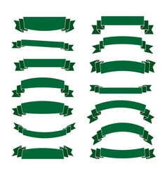 Green ribbon banners set Beautiful blank vector image