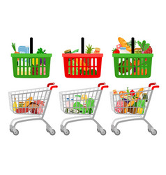 grocery shopping cart and basket vector image