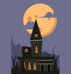 Halloween background scary horror castle vector
