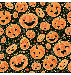 Halloween pumpkins seamless pattern background vector image