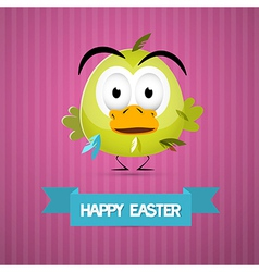 Happy Easter Retro Pink Background with Funny vector image