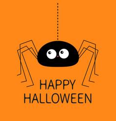 Happy halloween black spider silhouette hanging vector