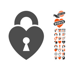 Heart lock icon with valentine bonus vector