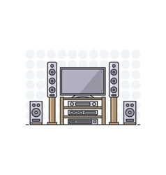 Home cinema system in flat line stile isolated vector