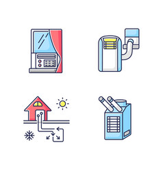 Home conditioning rgb color icons set vector