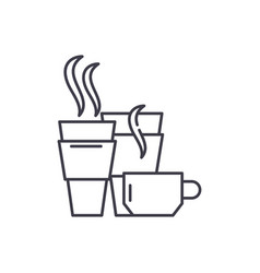 hot drinks line icon concept hot drinks vector image