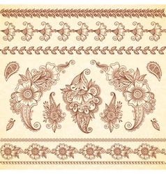 Indian mehndi tattoo style floral ornaments set vector image