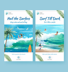 Instagram template with surfboards at beach vector