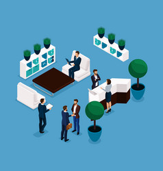 isometric office room front view vector image
