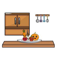 kawaii vegetables in kitchen design vector image