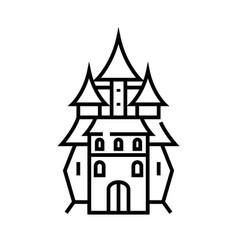 Magic castle line icon concept sign outline vector