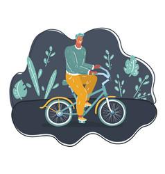 man ride bicycles on dark vector image