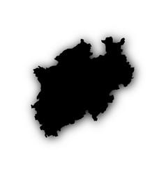 map of north rhine-westphalia with shadow vector image