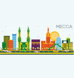 Mecca skyline with color landmarks and blue sky vector