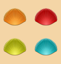 modern shells set on orange vector image