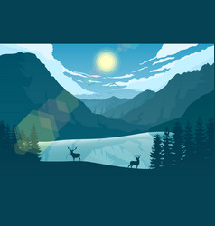 mountain landscape with two deer in near a lake vector image