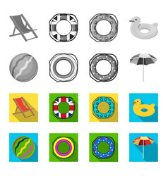 Multicolored swimming circle monochromeflat icons vector
