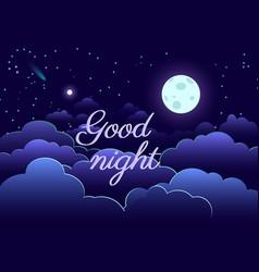 Night sky art design moon star paper cartoon vector