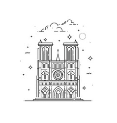 Notre dame de paris made in outline vector