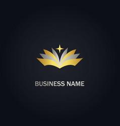 Open book education star gold logo vector