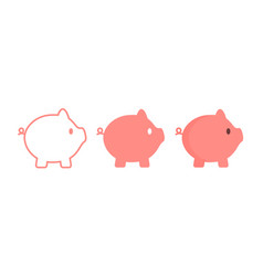 Pig icon in outline logo flat style vector