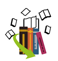 Pile ebooks with arrow download vector